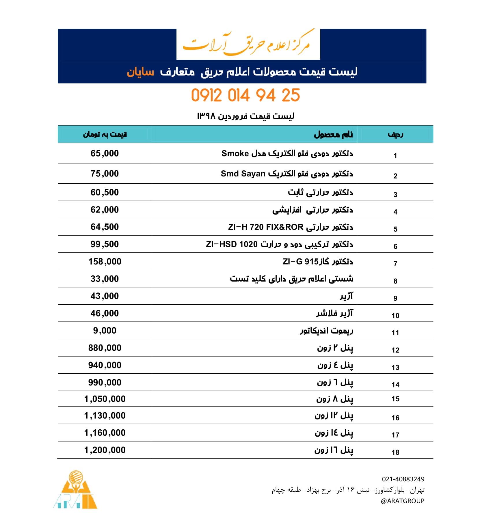 لیست قیمت اعلام حریق سایان